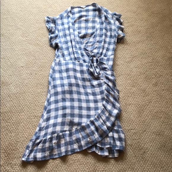 Rails Dresses & Skirts - Rails Gingham Blue Wrap Dress Size Xs